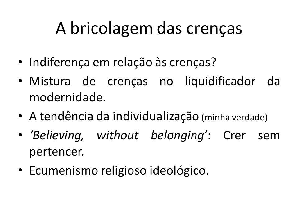 A bricolagem das crenças Indiferença em relação às crenças.