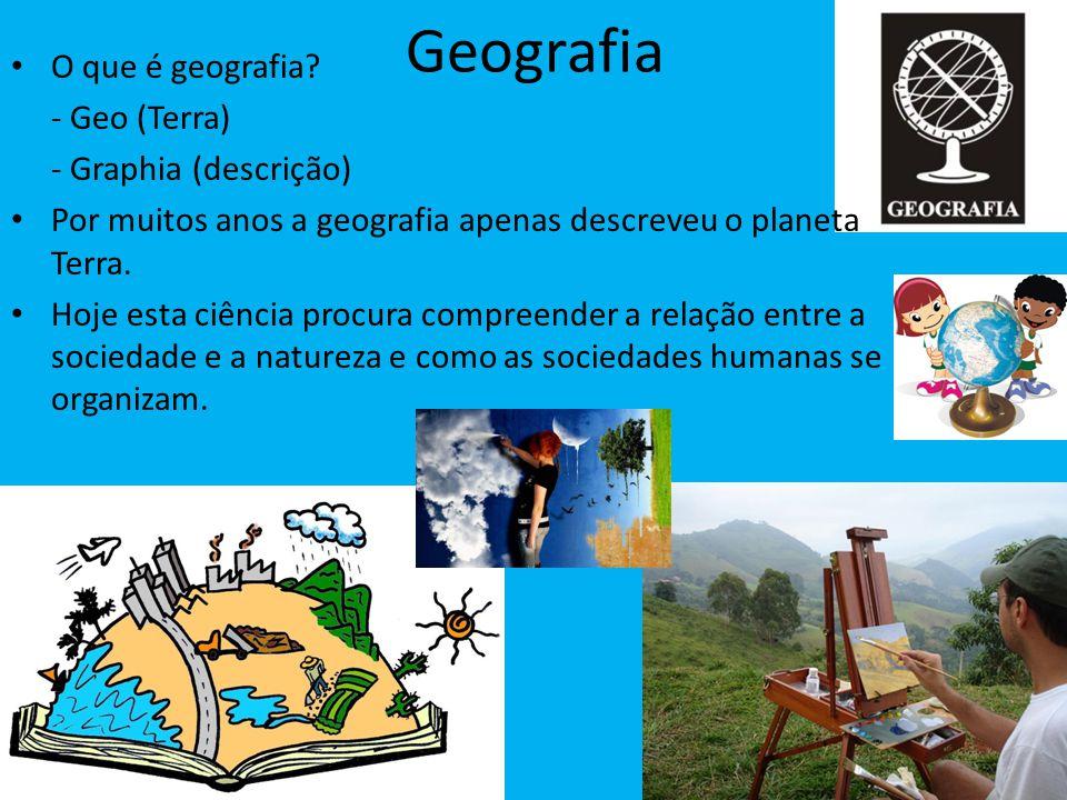 Geografia O que é geografia? - Geo (Terra) - Graphia (descrição) Por muitos anos a geografia apenas descreveu o planeta Terra. Hoje esta ciência procu
