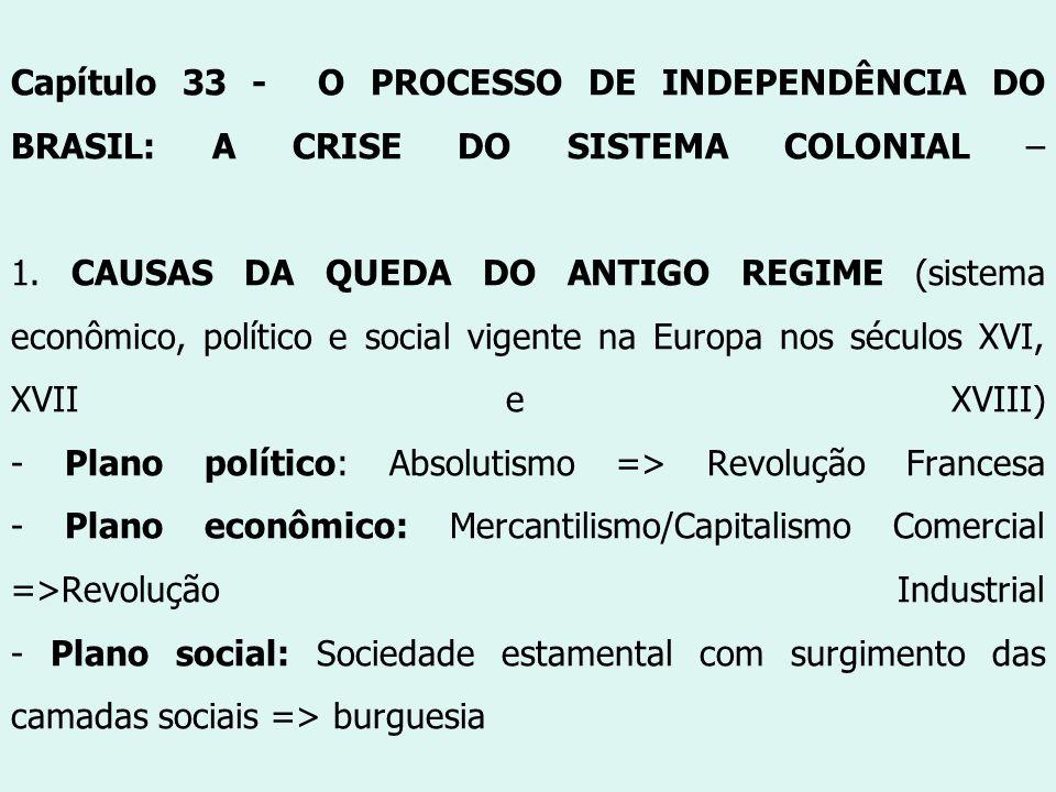 Capítulo 33 - O PROCESSO DE INDEPENDÊNCIA DO BRASIL: A CRISE DO SISTEMA COLONIAL – 1. CAUSAS DA QUEDA DO ANTIGO REGIME (sistema econômico, político e