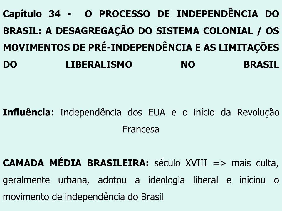 Capítulo 34 - O PROCESSO DE INDEPENDÊNCIA DO BRASIL: A DESAGREGAÇÃO DO SISTEMA COLONIAL / OS MOVIMENTOS DE PRÉ-INDEPENDÊNCIA E AS LIMITAÇÕES DO LIBERA