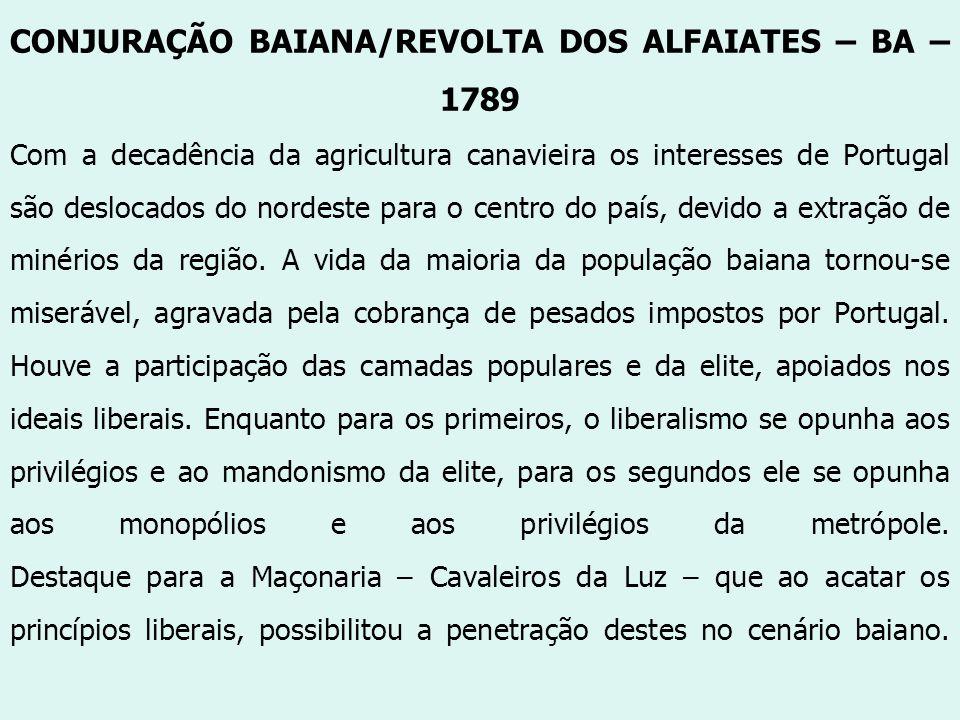 CONJURAÇÃO BAIANA/REVOLTA DOS ALFAIATES – BA – 1789 Com a decadência da agricultura canavieira os interesses de Portugal são deslocados do nordeste pa