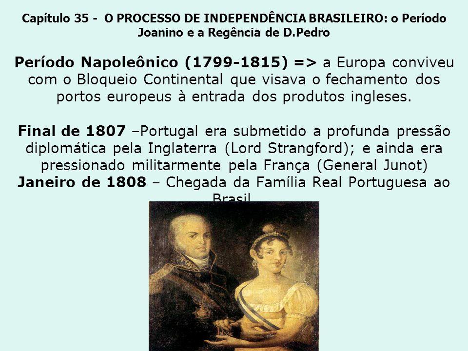 Capítulo 35 - O PROCESSO DE INDEPENDÊNCIA BRASILEIRO: o Período Joanino e a Regência de D.Pedro Período Napoleônico (1799-1815) => a Europa conviveu c