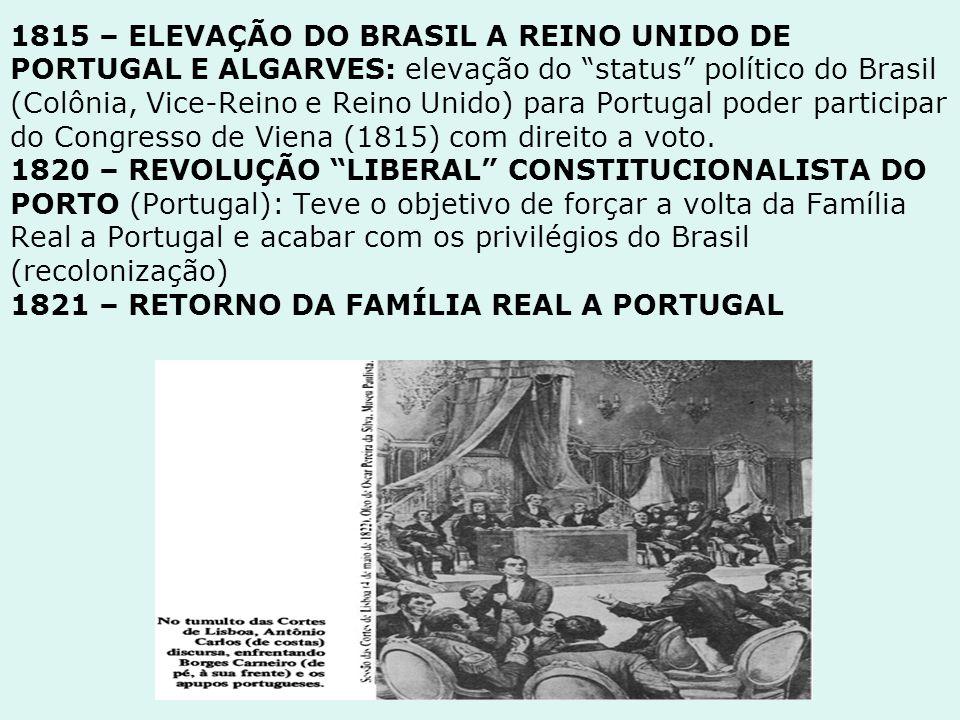 """1815 – ELEVAÇÃO DO BRASIL A REINO UNIDO DE PORTUGAL E ALGARVES: elevação do """"status"""" político do Brasil (Colônia, Vice-Reino e Reino Unido) para Portu"""