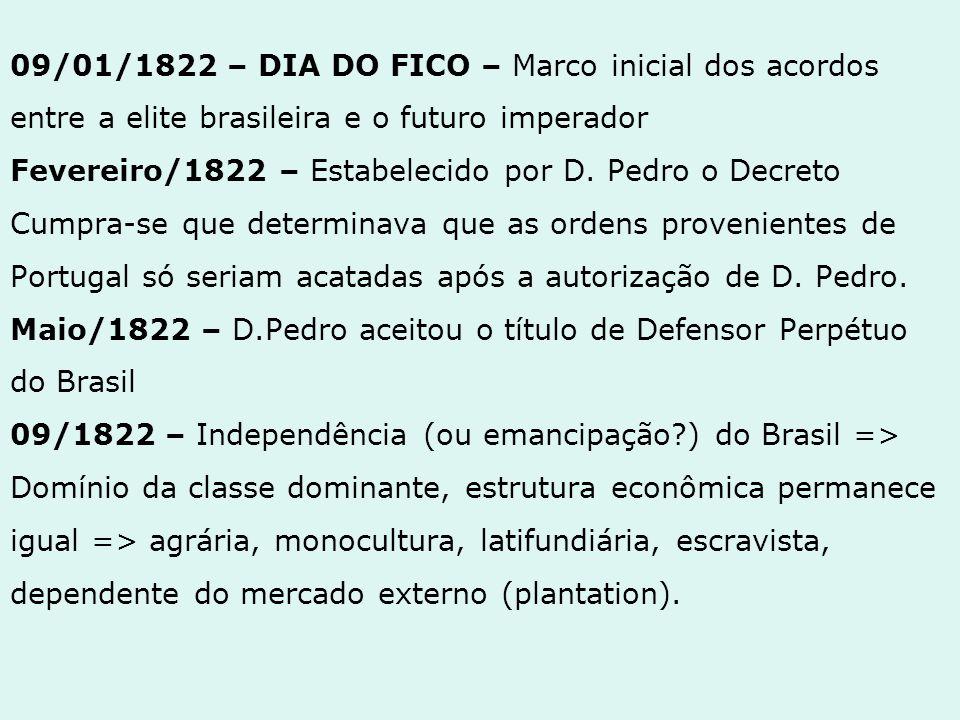 09/01/1822 – DIA DO FICO – Marco inicial dos acordos entre a elite brasileira e o futuro imperador Fevereiro/1822 – Estabelecido por D. Pedro o Decret