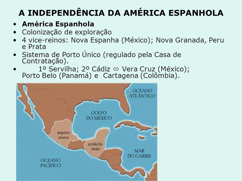 A INDEPENDÊNCIA DA AMÉRICA ESPANHOLA América Espanhola Colonização de exploração 4 vice-reinos: Nova Espanha (México); Nova Granada, Peru e Prata Sist