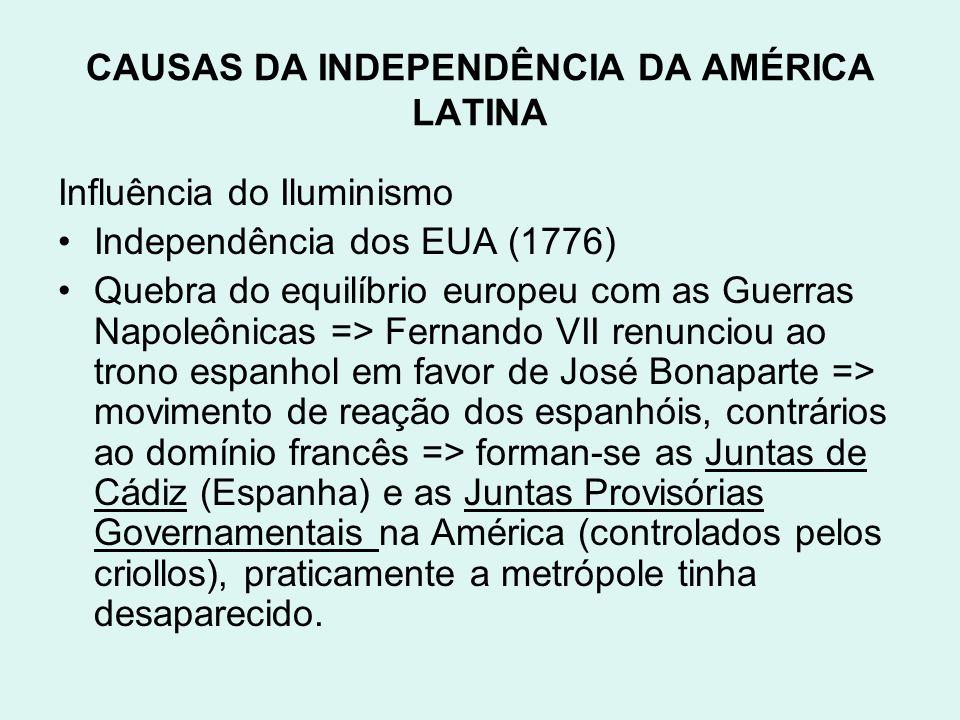 CAUSAS DA INDEPENDÊNCIA DA AMÉRICA LATINA Influência do Iluminismo Independência dos EUA (1776) Quebra do equilíbrio europeu com as Guerras Napoleônic