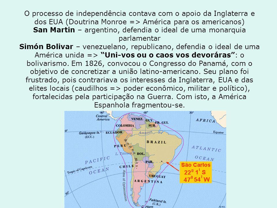 O processo de independência contava com o apoio da Inglaterra e dos EUA (Doutrina Monroe => América para os americanos) San Martin – argentino, defend