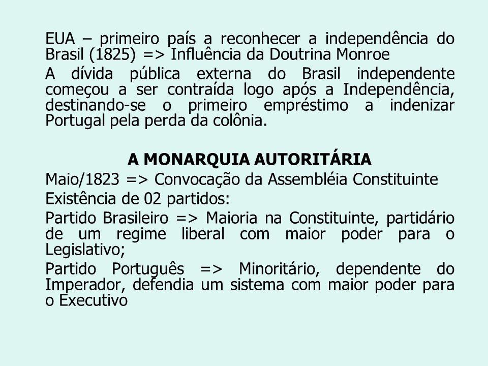 EUA – primeiro país a reconhecer a independência do Brasil (1825) => Influência da Doutrina Monroe A dívida pública externa do Brasil independente com