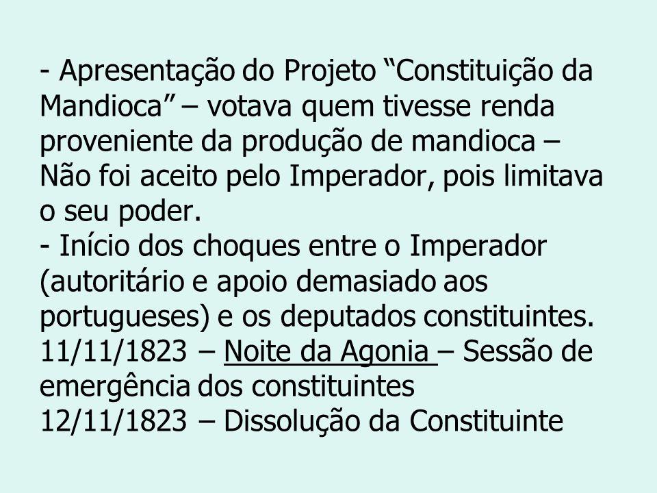 """- Apresentação do Projeto """"Constituição da Mandioca"""" – votava quem tivesse renda proveniente da produção de mandioca – Não foi aceito pelo Imperador,"""