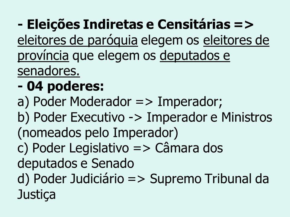 - Eleições Indiretas e Censitárias => eleitores de paróquia elegem os eleitores de província que elegem os deputados e senadores. - 04 poderes: a) Pod