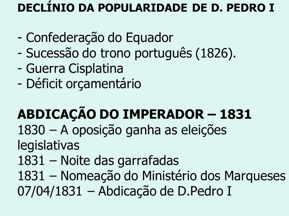 DECLÍNIO DA POPULARIDADE DE D. PEDRO I - Confederação do Equador - Sucessão do trono português (1826). - Guerra Cisplatina - Déficit orçamentário ABDI