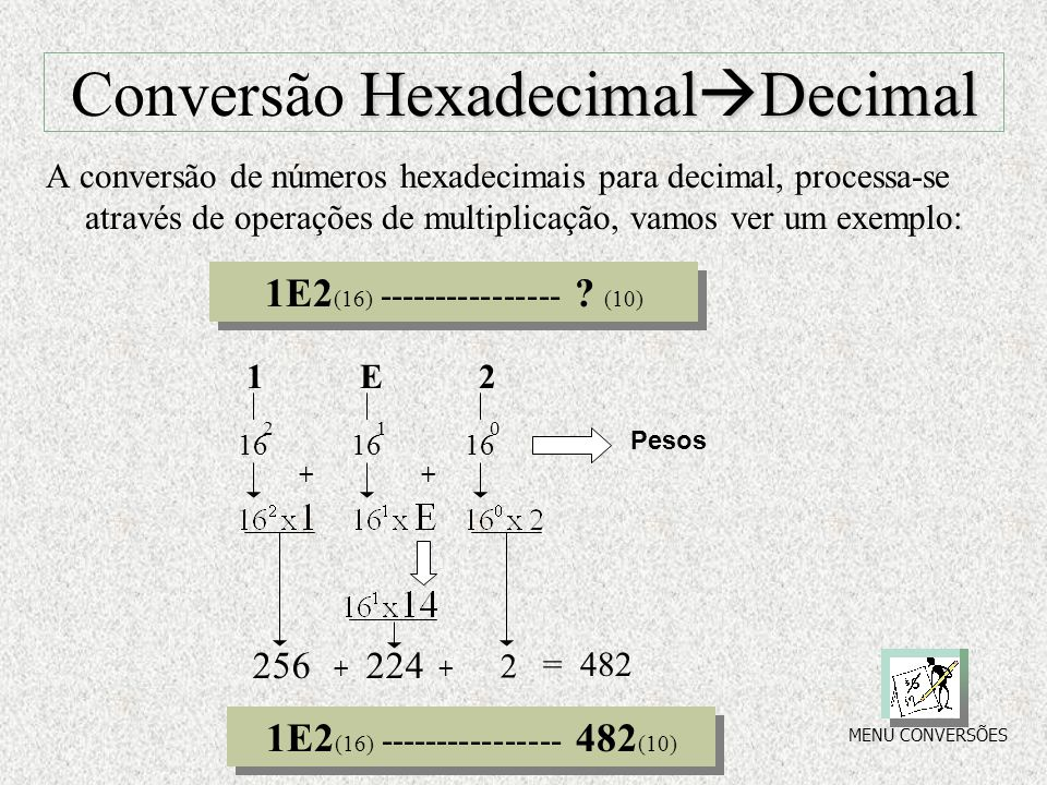 Binário Decimal Conversão Binário  Decimal Como só existem dois números no sistema binário, teremos que trabalhar com Base 2, logo temos por exemplo: