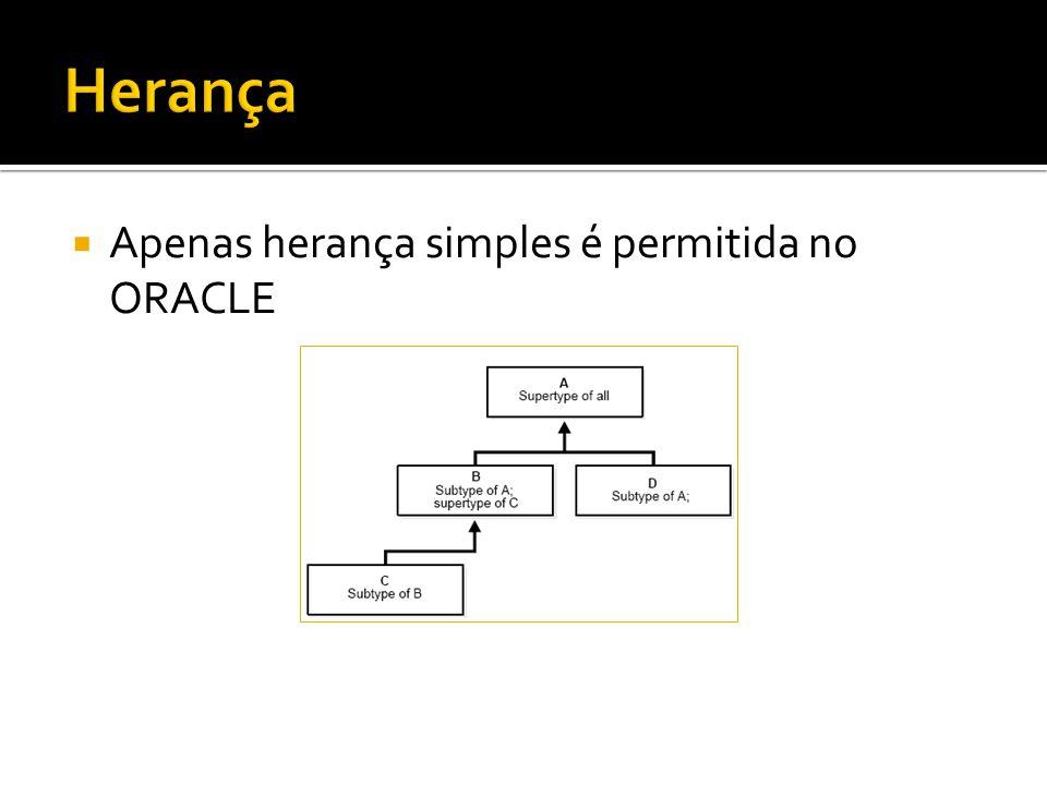  Apenas herança simples é permitida no ORACLE