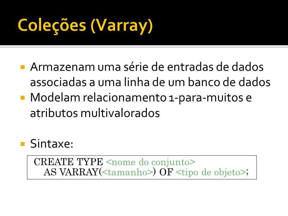  Armazenam uma série de entradas de dados associadas a uma linha de um banco de dados  Modelam relacionamento 1-para-muitos e atributos multivalorados  Sintaxe: CREATE TYPE AS VARRAY( ) OF ;