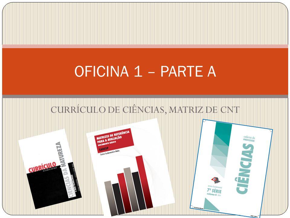 OFICINA 1 – PARTE A CURRÍCULO DE CIÊNCIAS, MATRIZ DE CNT