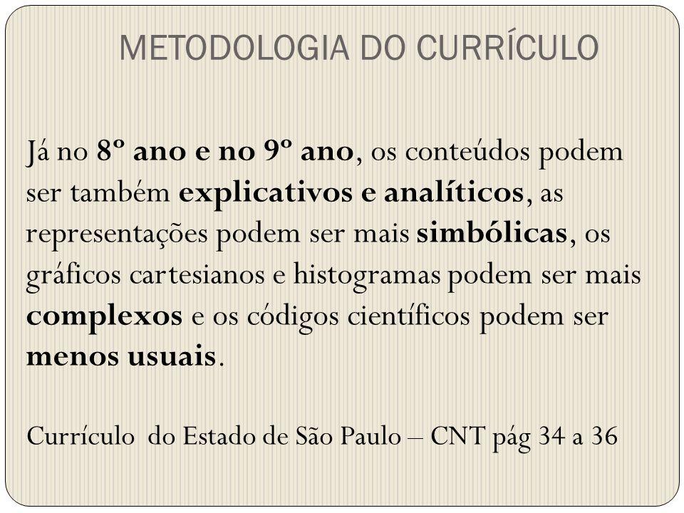 Já no 8º ano e no 9º ano, os conteúdos podem ser também explicativos e analíticos, as representações podem ser mais simbólicas, os gráficos cartesiano