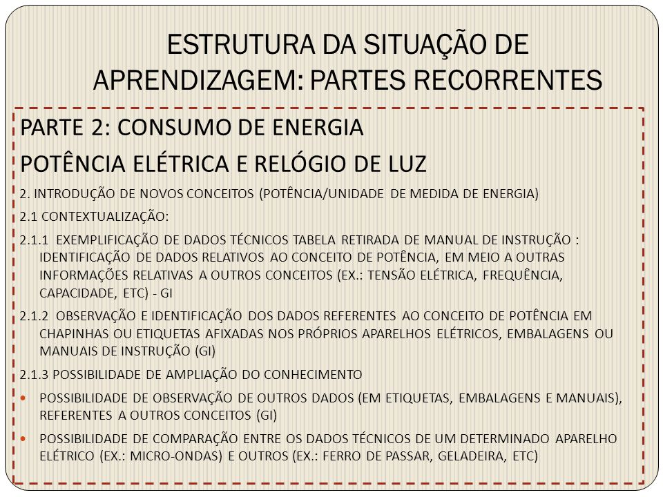ESTRUTURA DA SITUAÇÃO DE APRENDIZAGEM: PARTES RECORRENTES PARTE 2: CONSUMO DE ENERGIA POTÊNCIA ELÉTRICA E RELÓGIO DE LUZ 2. INTRODUÇÃO DE NOVOS CONCEI