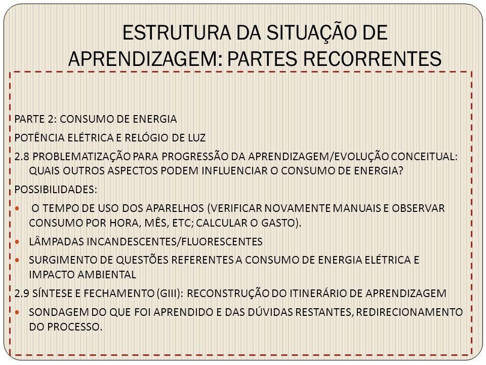 ESTRUTURA DA SITUAÇÃO DE APRENDIZAGEM: PARTES RECORRENTES PARTE 2: CONSUMO DE ENERGIA POTÊNCIA ELÉTRICA E RELÓGIO DE LUZ 2.8 PROBLEMATIZAÇÃO PARA PROG
