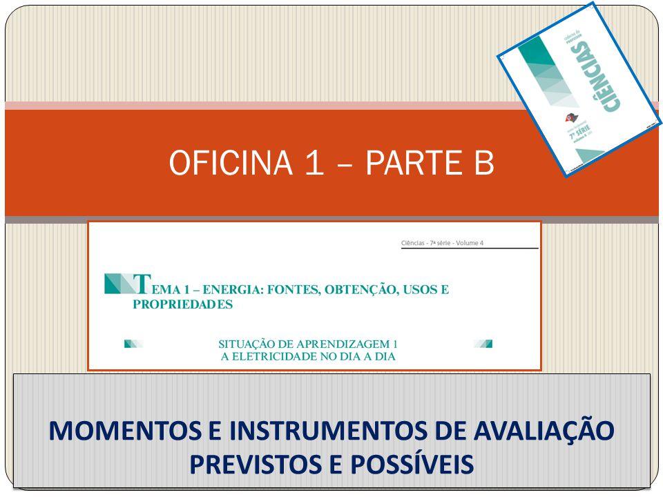 OFICINA 1 – PARTE B MOMENTOS E INSTRUMENTOS DE AVALIAÇÃO PREVISTOS E POSSÍVEIS
