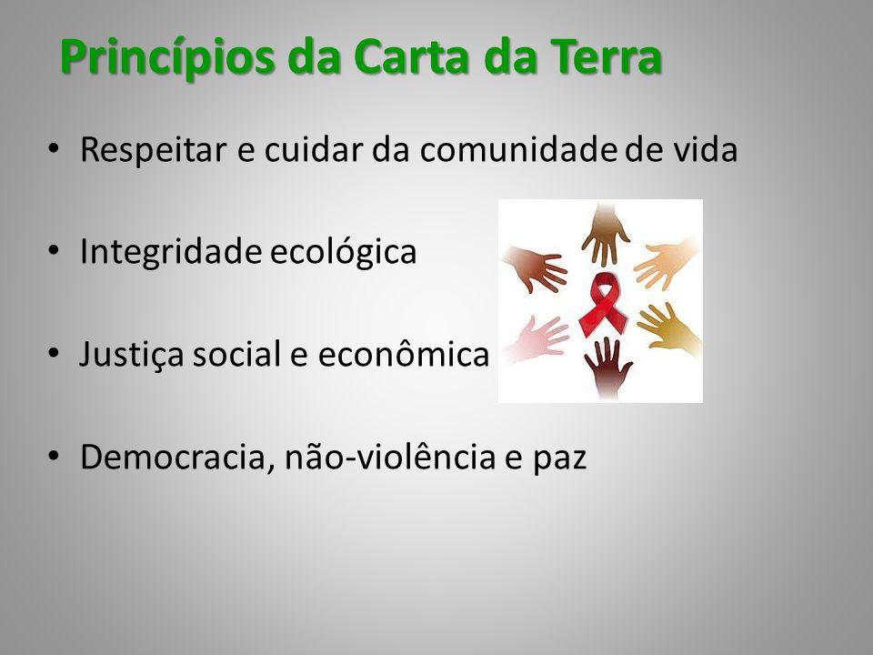Princípios da Carta da Terra Respeitar e cuidar da comunidade de vida Integridade ecológica Justiça social e econômica Democracia, não-violência e paz