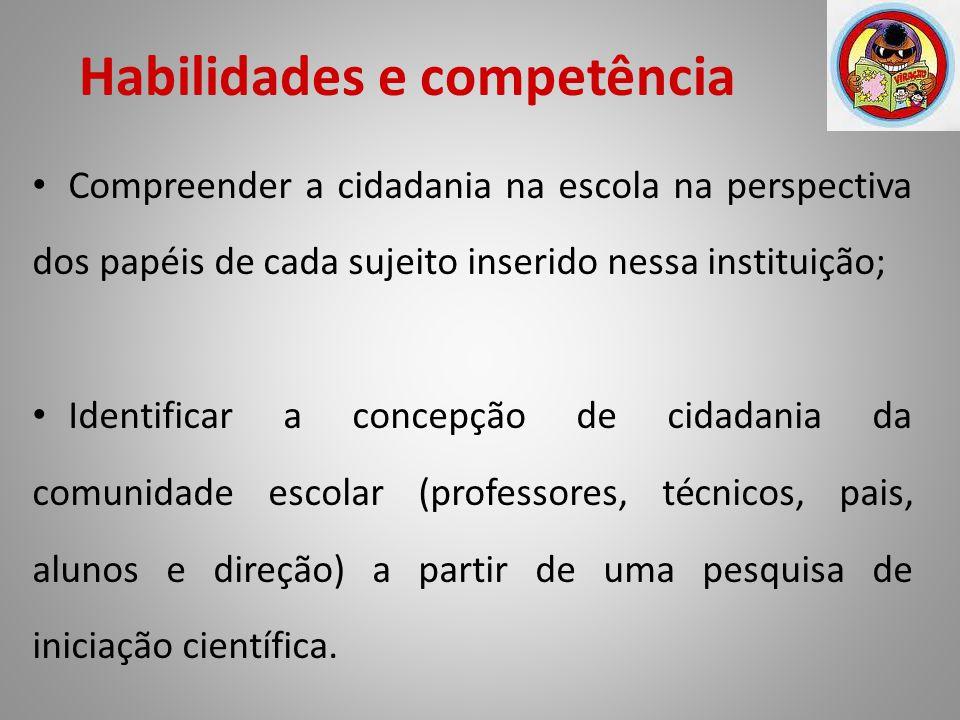 Habilidades e competência Compreender a cidadania na escola na perspectiva dos papéis de cada sujeito inserido nessa instituição; Identificar a concep
