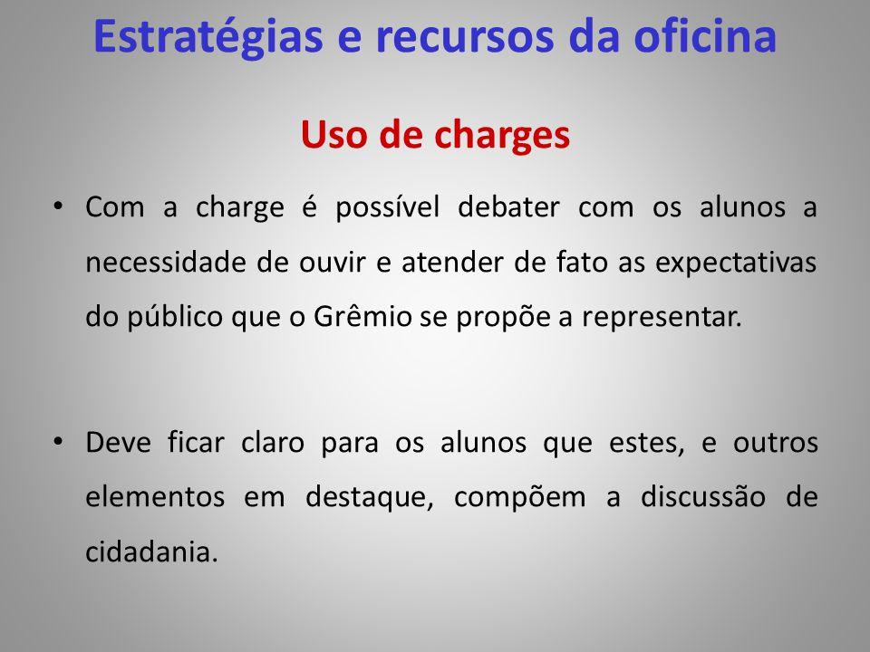 Uso de charges Com a charge é possível debater com os alunos a necessidade de ouvir e atender de fato as expectativas do público que o Grêmio se propõ