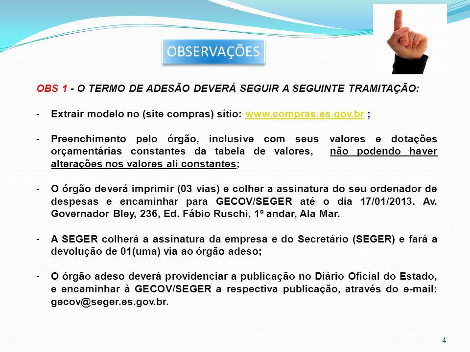 OBSERVAÇÕES OBS 1 - O TERMO DE ADESÃO DEVERÁ SEGUIR A SEGUINTE TRAMITAÇÃO: -Extrair modelo no (site compras) sítio: www.compras.es.gov.br ;www.compras