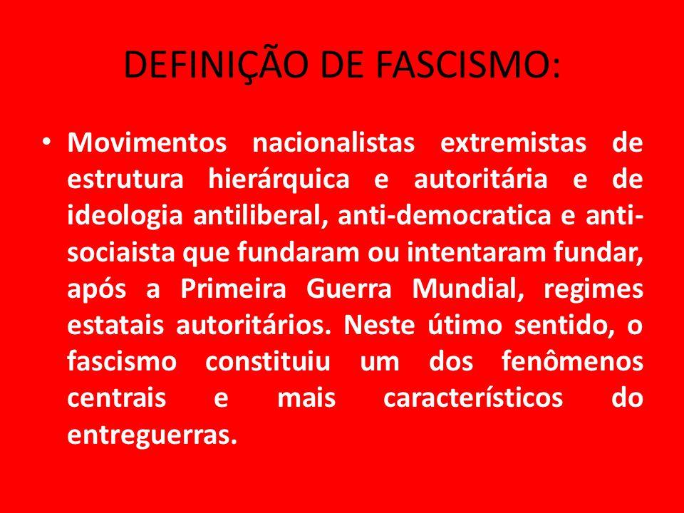 DEFINIÇÃO DE FASCISMO: Movimentos nacionalistas extremistas de estrutura hierárquica e autoritária e de ideologia antiliberal, anti-democratica e anti