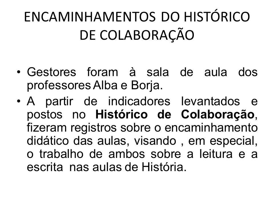 ENCAMINHAMENTOS DO HISTÓRICO DE COLABORAÇÃO Gestores foram à sala de aula dos professores Alba e Borja.