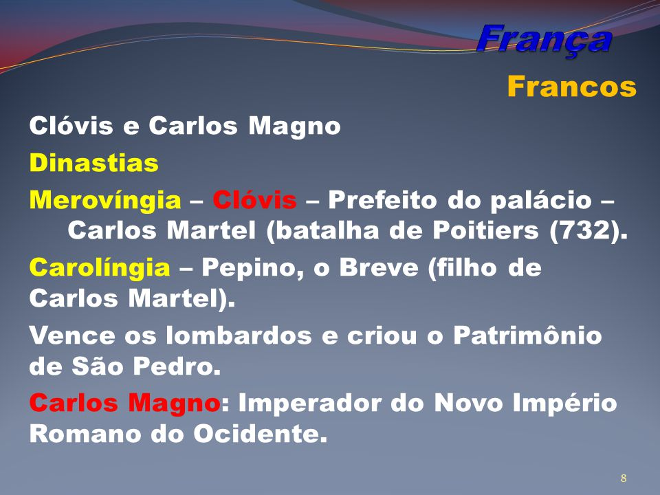 Francos Clóvis e Carlos Magno Dinastias Merovíngia – Clóvis – Prefeito do palácio – Carlos Martel (batalha de Poitiers (732).