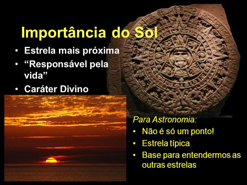 Importância do Sol Estrela mais próxima Responsável pela vida Caráter Divino Para Astronomia: Não é só um ponto.