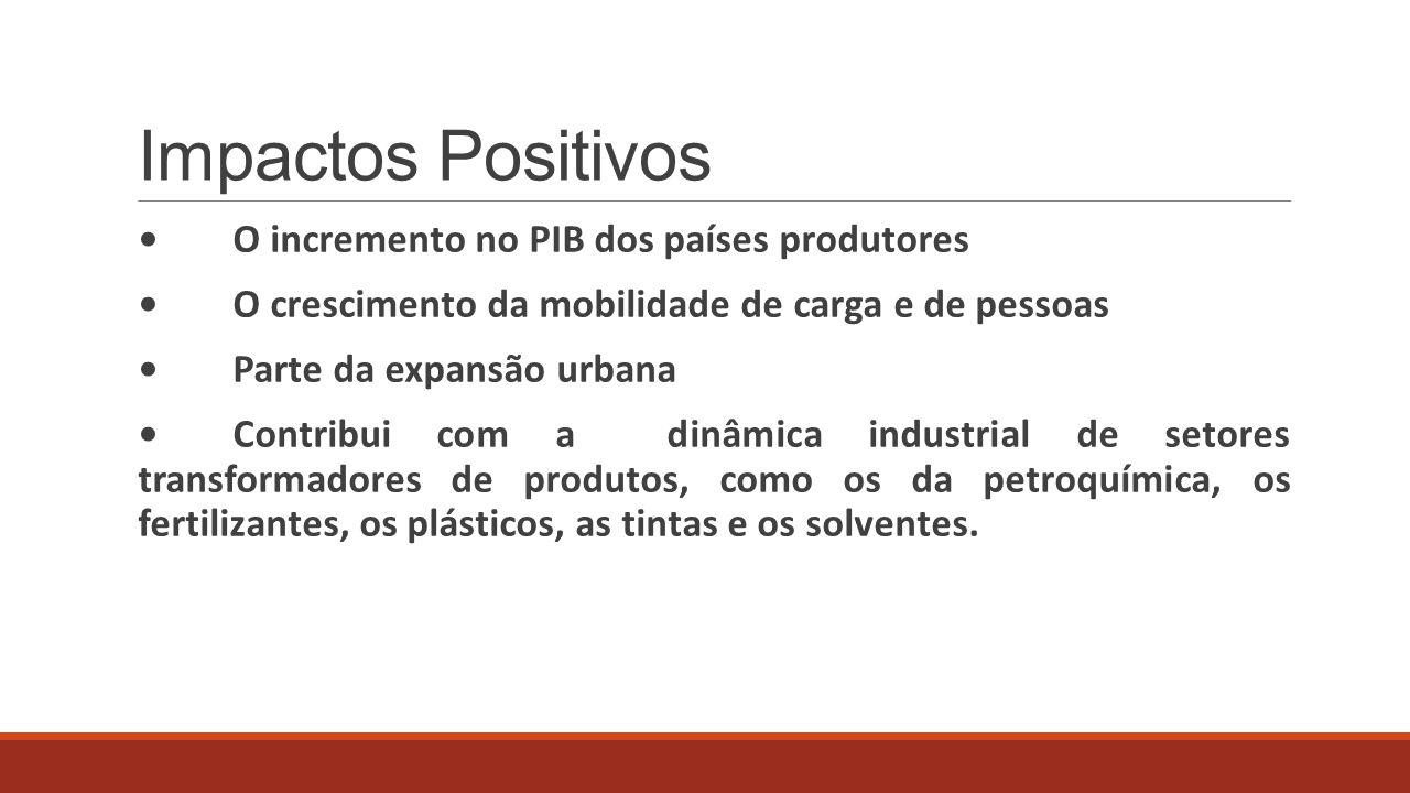 Impactos Positivos O incremento no PIB dos países produtores O crescimento da mobilidade de carga e de pessoas Parte da expansão urbana Contribui com