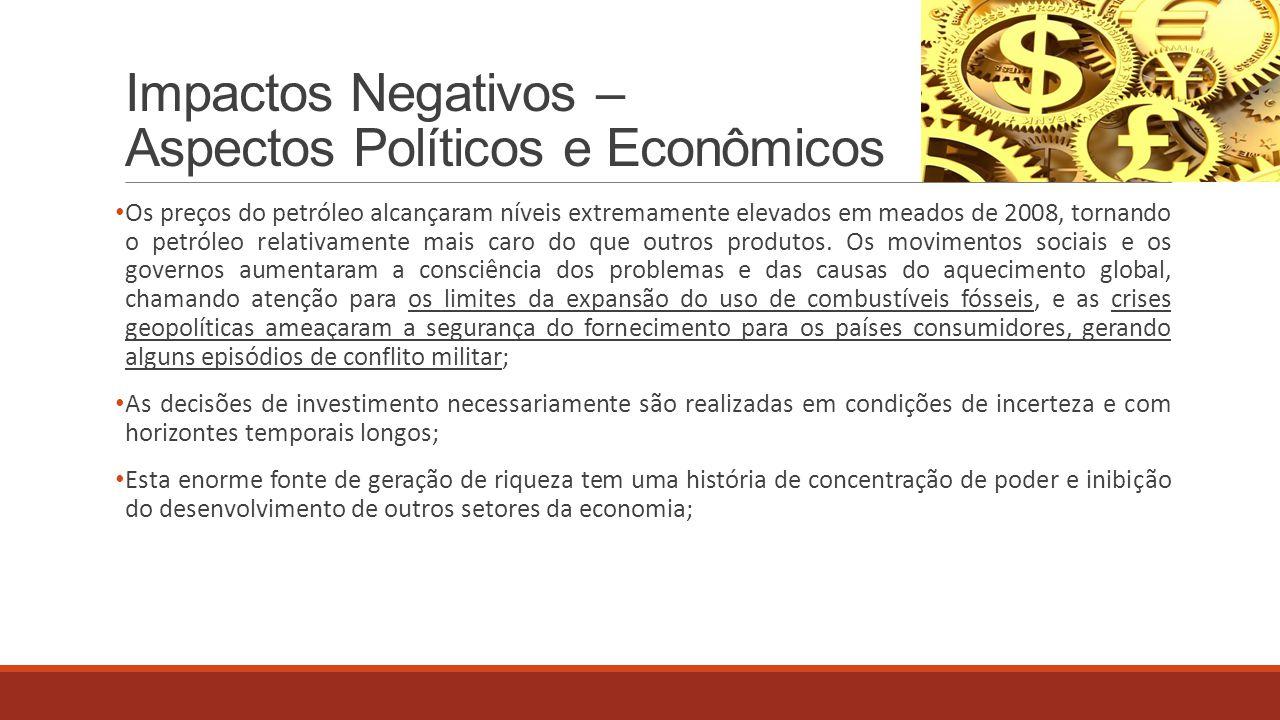 Impactos Negativos – Aspectos Políticos e Econômicos Os preços do petróleo alcançaram níveis extremamente elevados em meados de 2008, tornando o petró
