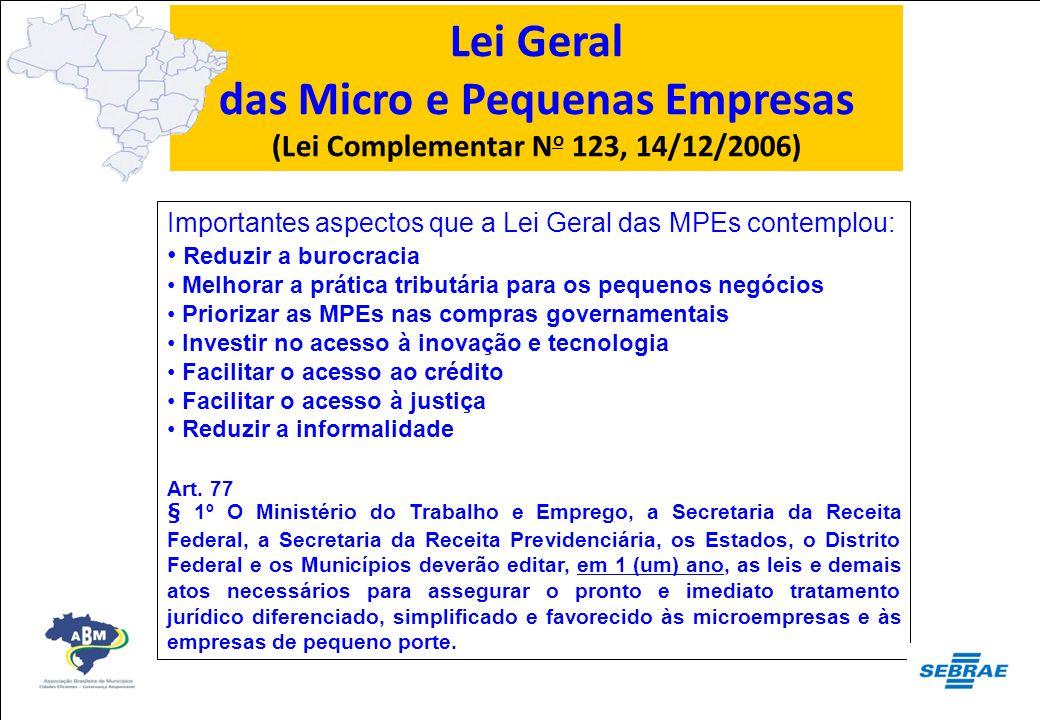 Lei Geral das Micro e Pequenas Empresas (Lei Complementar N o 123, 14/12/2006) Importantes aspectos que a Lei Geral das MPEs contemplou: Reduzir a bur