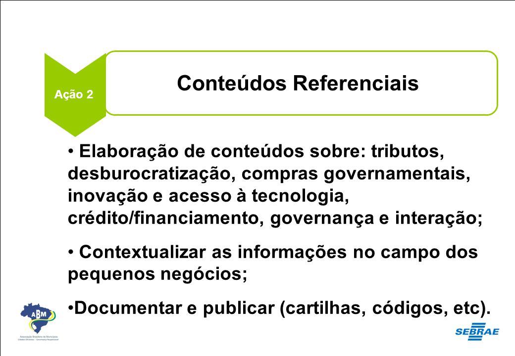 Conteúdos Referenciais Ação 2 Elaboração de conteúdos sobre: tributos, desburocratização, compras governamentais, inovação e acesso à tecnologia, créd