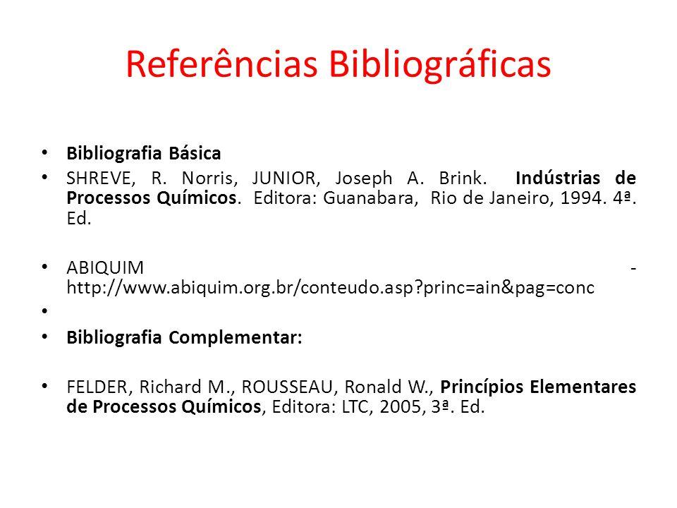Bibliografia Básica SHREVE, R. Norris, JUNIOR, Joseph A. Brink. Indústrias de Processos Químicos. Editora: Guanabara, Rio de Janeiro, 1994. 4ª. Ed. AB