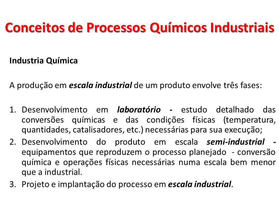 Industria Química A produção em escala industrial de um produto envolve três fases: 1.Desenvolvimento em laboratório - estudo detalhado das conversões