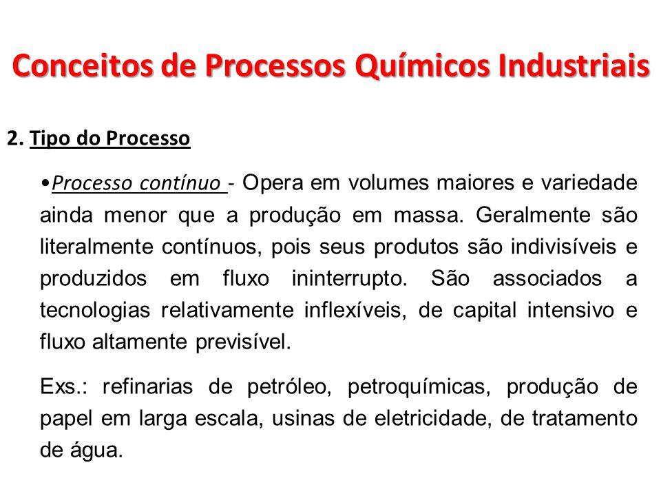 2. Tipo do Processo Processo contínuo - Opera em volumes maiores e variedade ainda menor que a produção em massa. Geralmente são literalmente contínuo