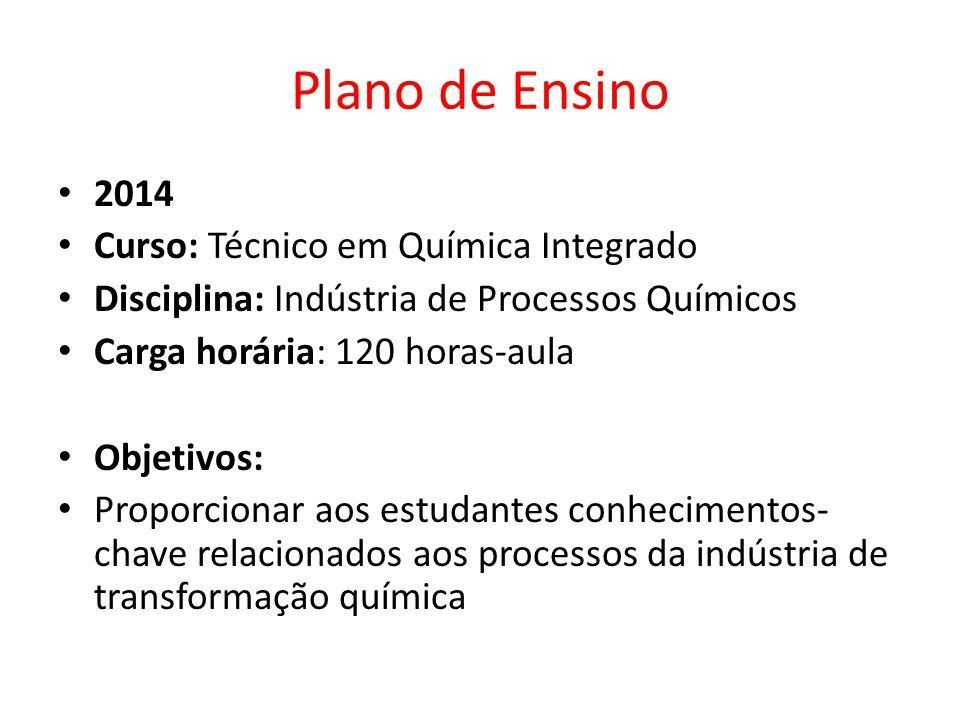 2014 Curso: Técnico em Química Integrado Disciplina: Indústria de Processos Químicos Carga horária: 120 horas-aula Objetivos: Proporcionar aos estudan