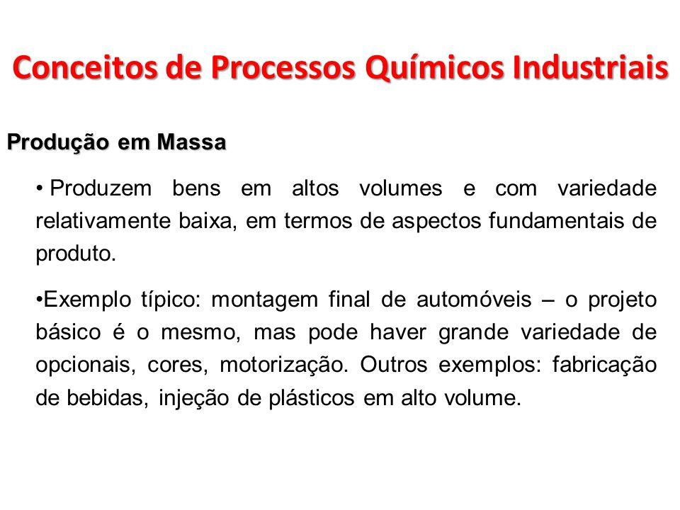Produção em Massa Produzem bens em altos volumes e com variedade relativamente baixa, em termos de aspectos fundamentais de produto. Exemplo típico: m