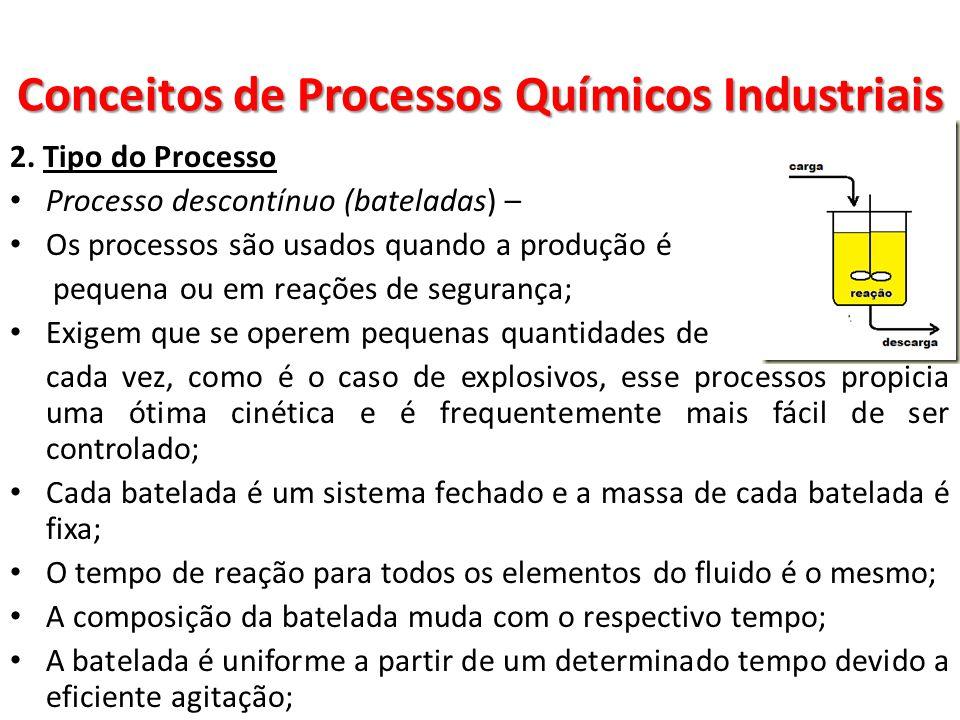 2. Tipo do Processo Processo descontínuo (bateladas) – Os processos são usados quando a produção é pequena ou em reações de segurança; Exigem que se o