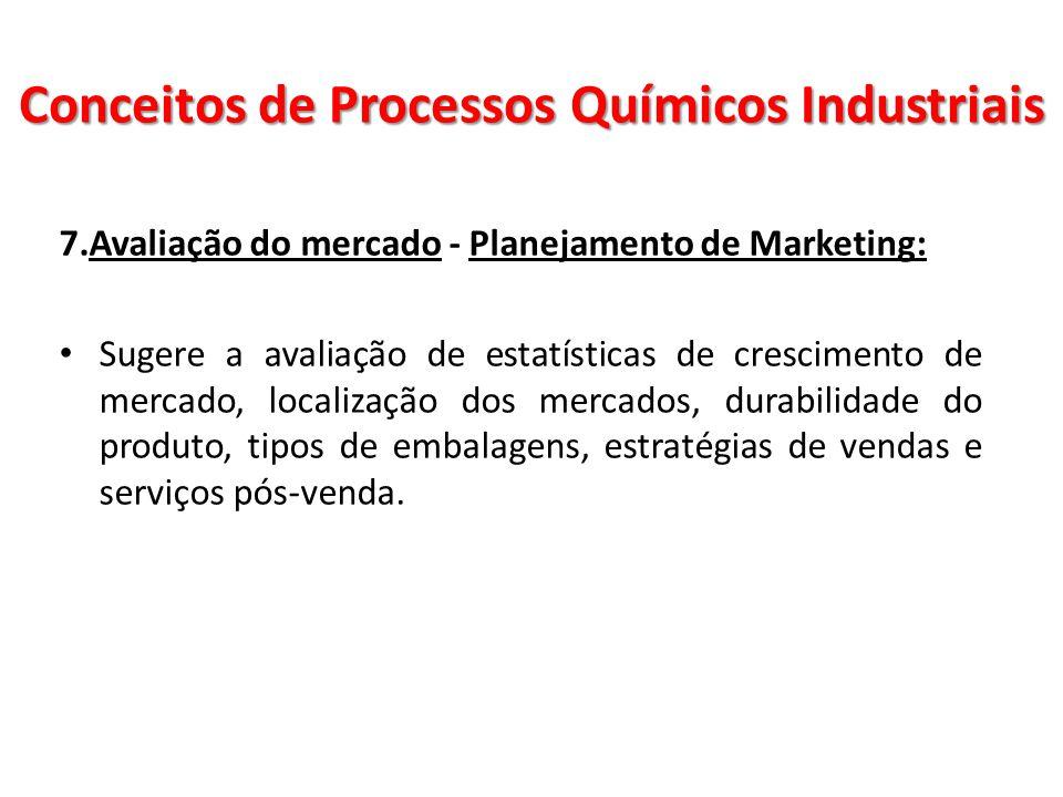 7.Avaliação do mercado - Planejamento de Marketing: Sugere a avaliação de estatísticas de crescimento de mercado, localização dos mercados, durabilida