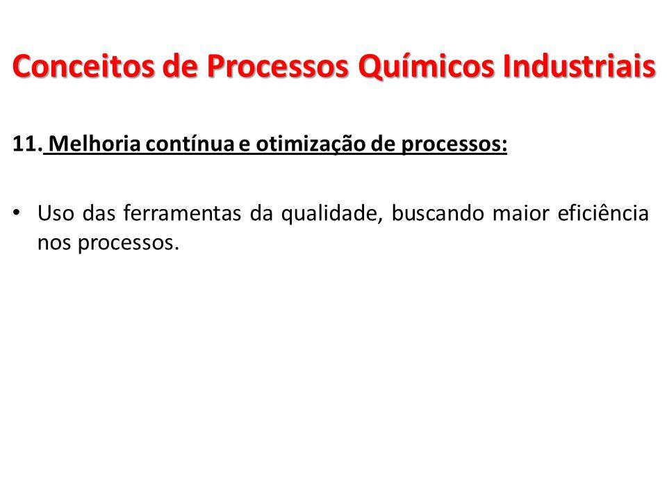 11. Melhoria contínua e otimização de processos: Uso das ferramentas da qualidade, buscando maior eficiência nos processos. Conceitos de Processos Quí