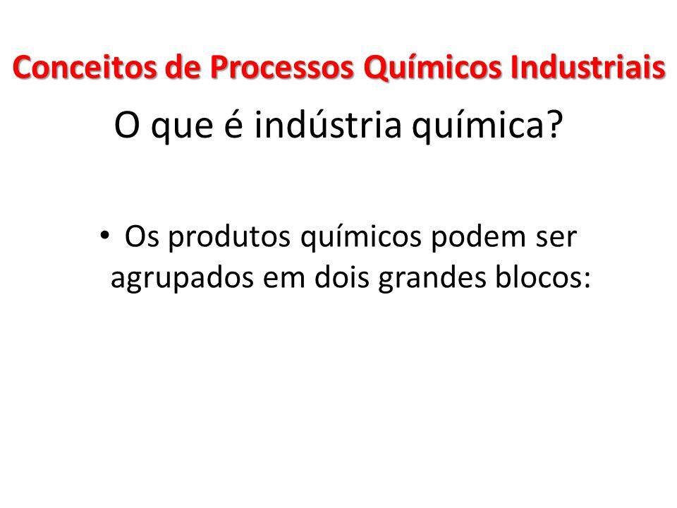 O que é indústria química? Os produtos químicos podem ser agrupados em dois grandes blocos: