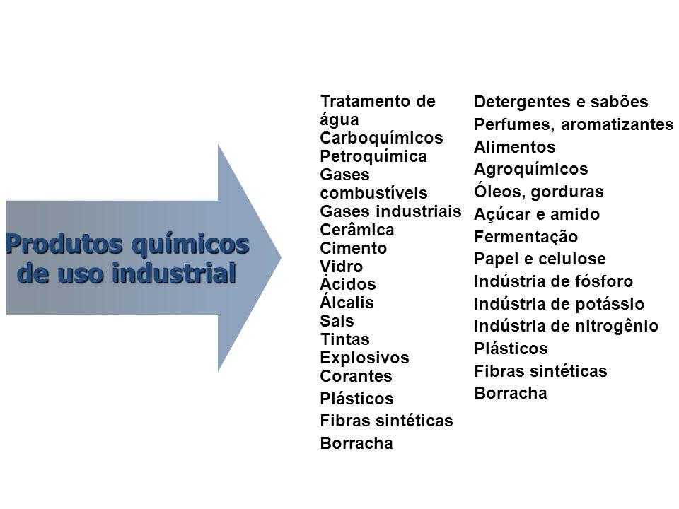 Produtos químicos de uso industrial Tratamento de água Carboquímicos Petroquímica Gases combustíveis Gases industriais Cerâmica Cimento Vidro Ácidos Á