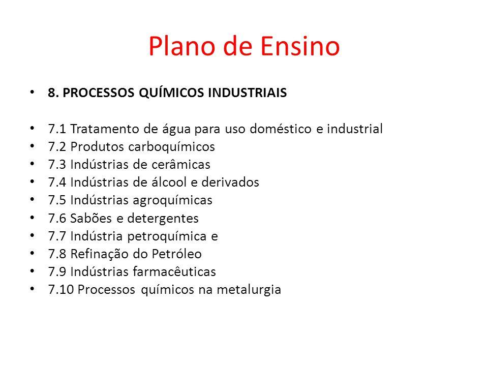 8. PROCESSOS QUÍMICOS INDUSTRIAIS 7.1 Tratamento de água para uso doméstico e industrial 7.2 Produtos carboquímicos 7.3 Indústrias de cerâmicas 7.4 In