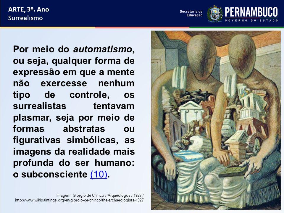 ARTE, 3º. Ano Surrealismo Por meio do automatismo, ou seja, qualquer forma de expressão em que a mente não exercesse nenhum tipo de controle, os surre