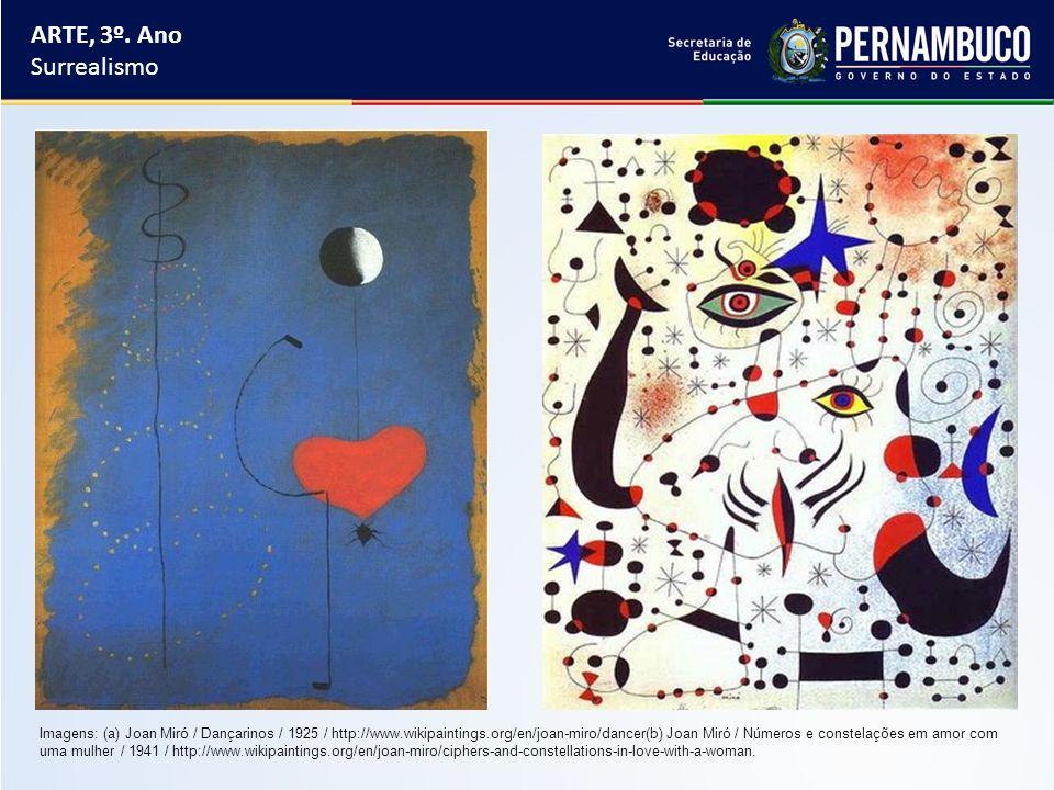 ARTE, 3º. Ano Surrealismo Imagens: (a) Joan Miró / Dançarinos / 1925 / http://www.wikipaintings.org/en/joan-miro/dancer(b) Joan Miró / Números e const