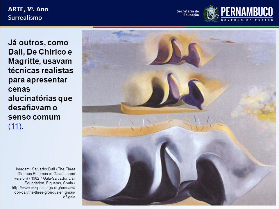 ARTE, 3º. Ano Surrealismo Já outros, como Dali, De Chirico e Magritte, usavam técnicas realistas para apresentar cenas alucinatórias que desafiavam o