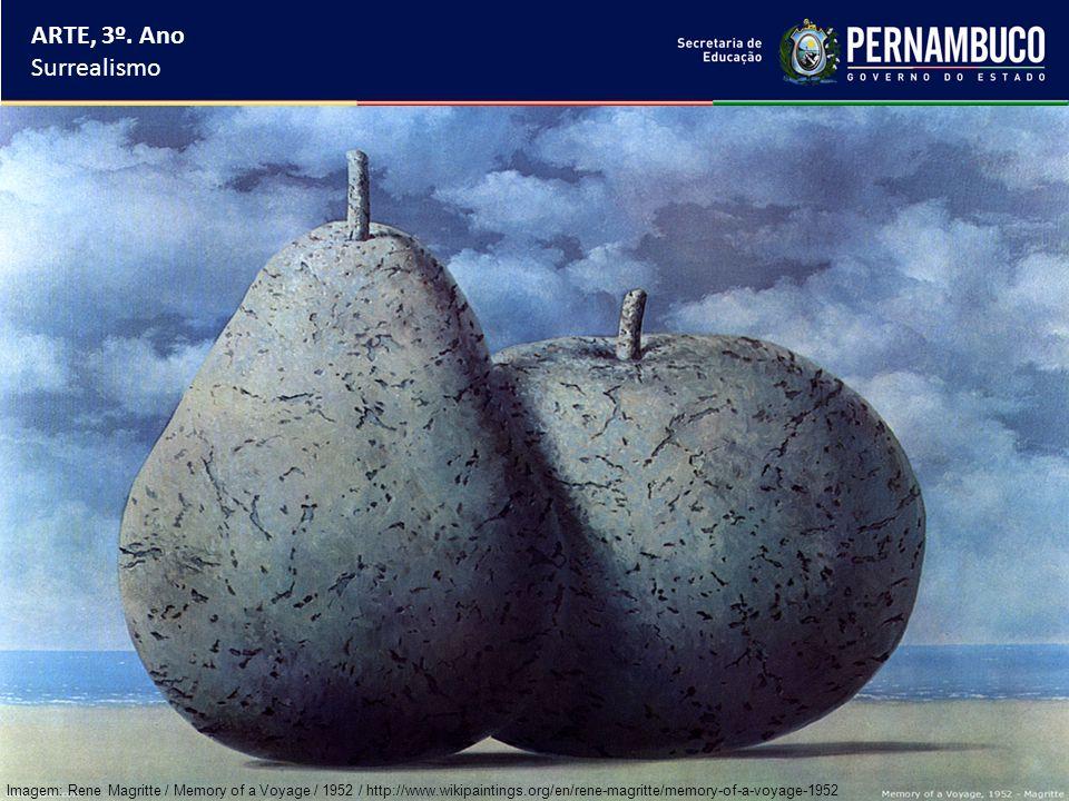 ARTE, 3º. Ano Surrealismo Imagem: Rene Magritte / Memory of a Voyage / 1952 / http://www.wikipaintings.org/en/rene-magritte/memory-of-a-voyage-1952